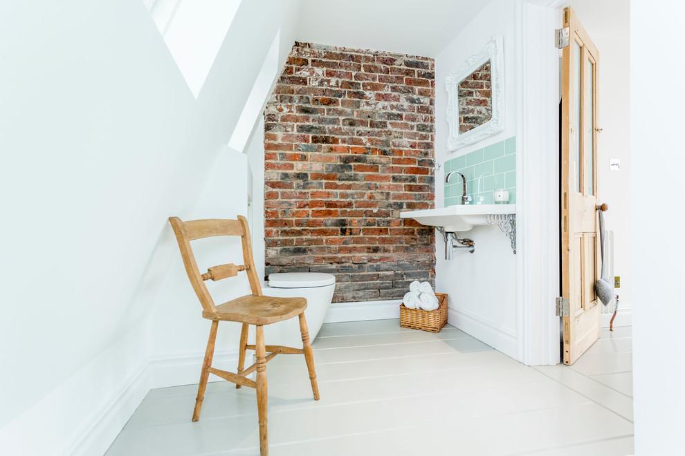 Example of a coastal painted wood floor bathroom design in Hampshire