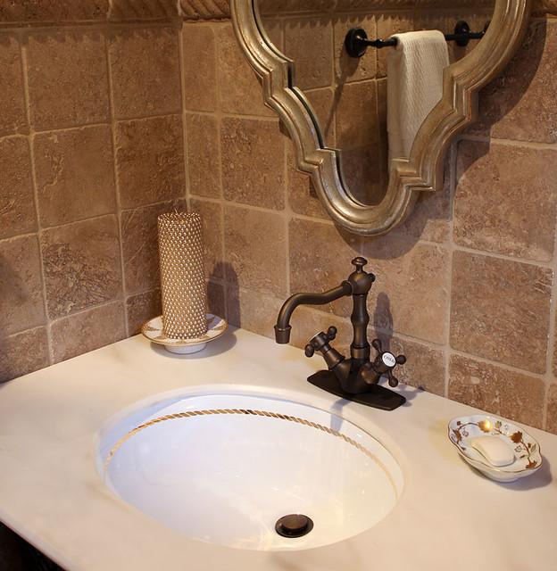 Border Hand Painted Sink in Beige Bathroom - Traditional - Bathroom ...