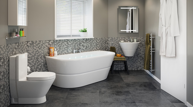 Rosalind bathroom suite contemporary bathroom other for Modern bathroom suites ideas