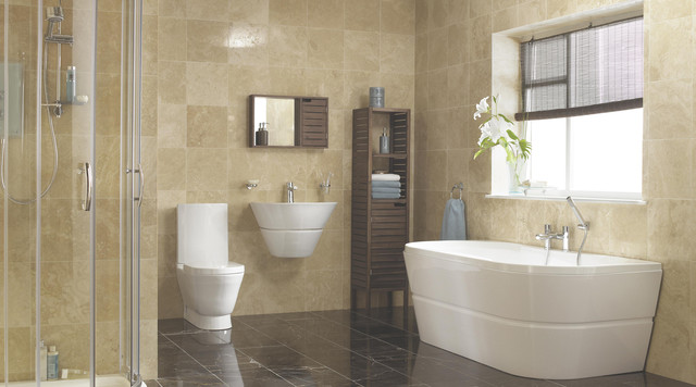 Large Trendy Master Beige Tile Porcelain Floor Bathroom Photo In Hampshire  With A Wall Mount