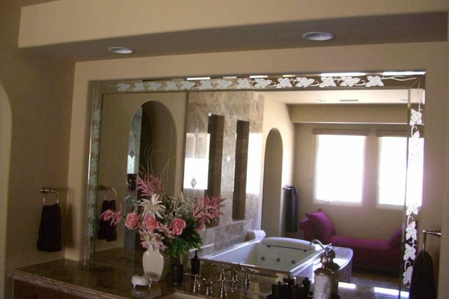 Rose Border Decorative Mirror With Etched Carved Design Bathroom