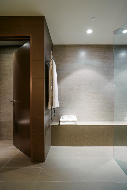 Mid-sized trendy master gray tile and porcelain tile porcelain floor bathroom photo in Vancouver with a vessel sink, flat-panel cabinets, light wood cabinets, engineered quartz countertops and gray walls