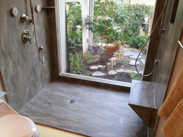 Rosemary Seamless Corian Shower Contemporary Bathroom