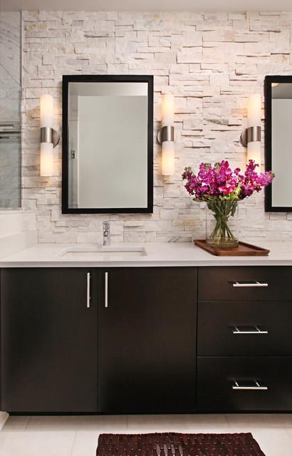 Rough hewn stone backsplash in modern master bath modern bathroom detroit by dreammaker Granite backsplash for bathroom vanity