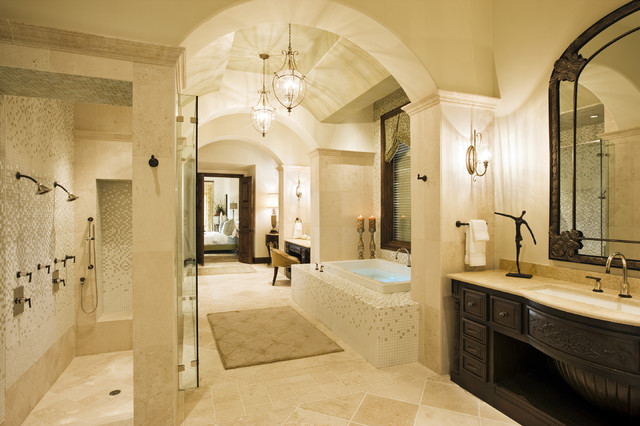 Rough hollow master bath mediterranean bathroom for Huge walk in shower