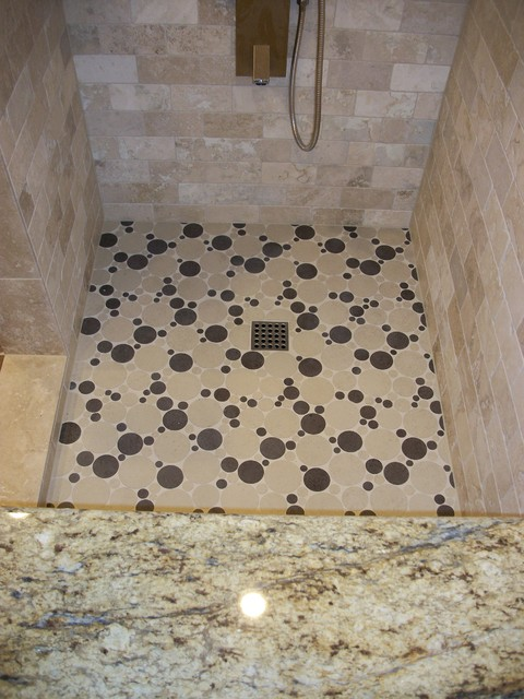 Round Bubble Tile Shower Floor Traditional Bathroom