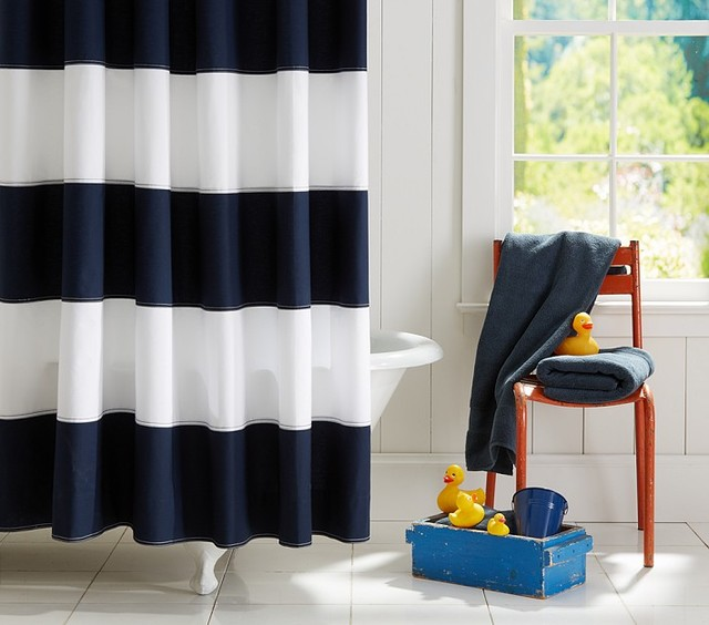 Merveilleux Rugby Shower Curtain, Navy/White Contemporary Bathroom
