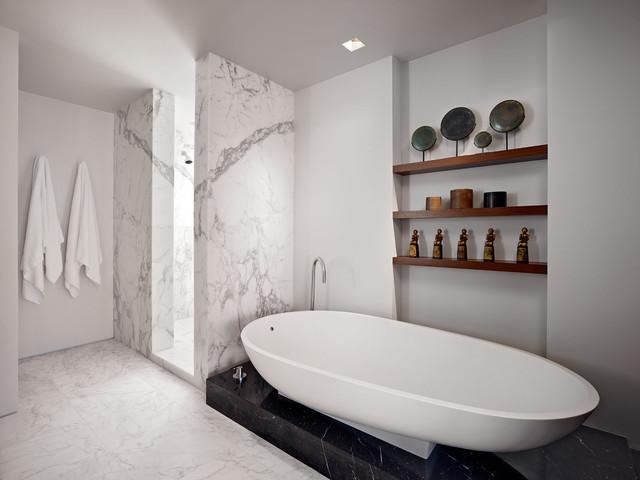 Merveilleux Inspiration For A Modern Marble Tile Freestanding Bathtub Remodel In San  Francisco