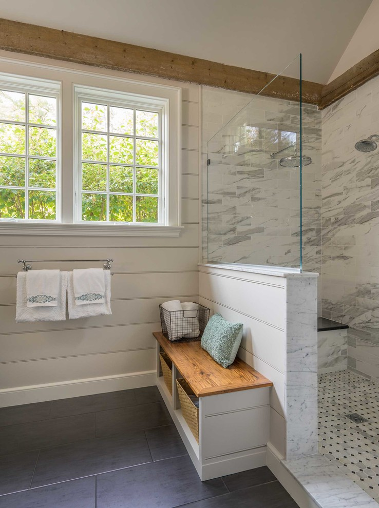 Example of a mid-sized farmhouse master white tile and marble tile marble floor and white floor bathroom design in Boston with furniture-like cabinets, green cabinets, a one-piece toilet, an undermount sink and marble countertops