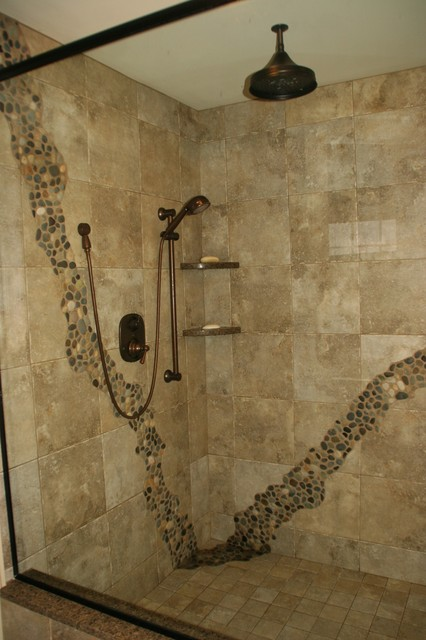 Rustic shower rustic bathroom cleveland by for Rustic tile bathroom ideas