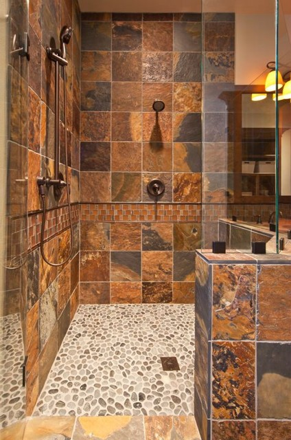 Rustic bathroom for Cabin shower tile ideas