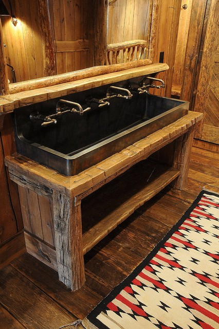 Trough Bathroom Sink With Two Faucets: By Peace Design