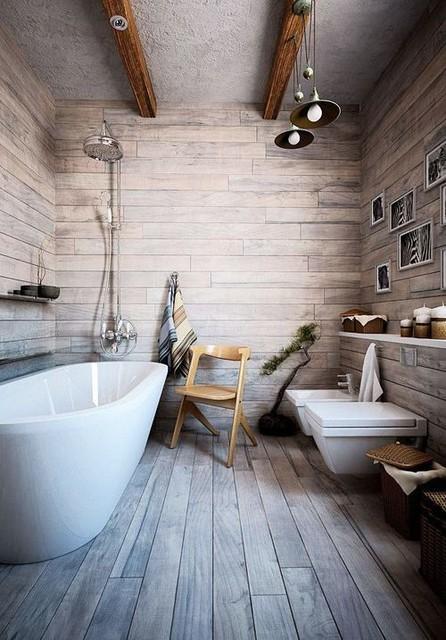 Farmhouse barn inspired bathroom walls and floors for Parquet flottant dans salle de bain