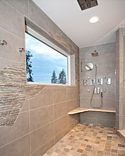 Rustic But Modern Tile Walk In Shower Contemporary Bathroom