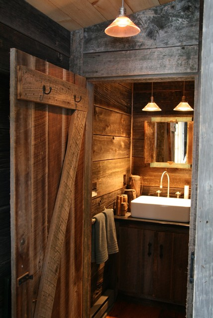 Rustic Cabin Bathroom Rustic Bathroom New York By