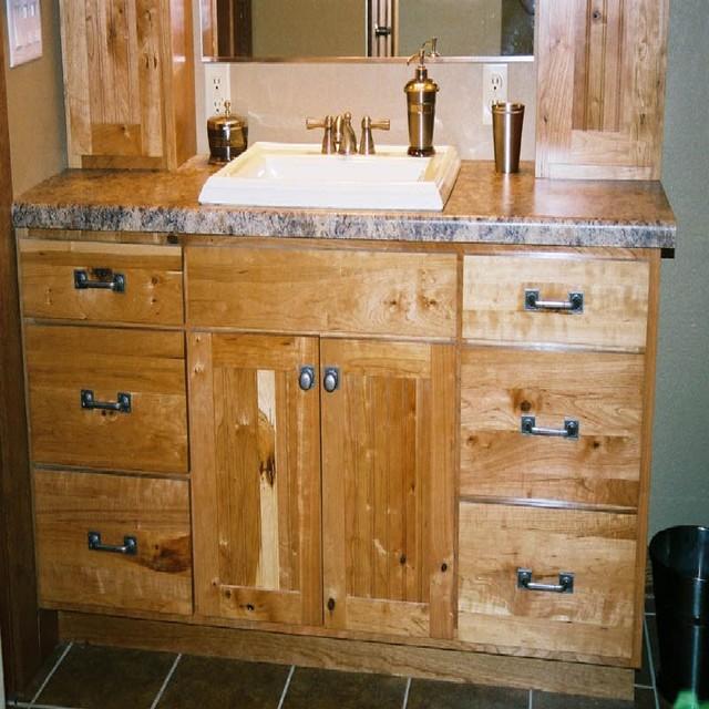 Rustic Cherry Bathroom With Laminate Countertops