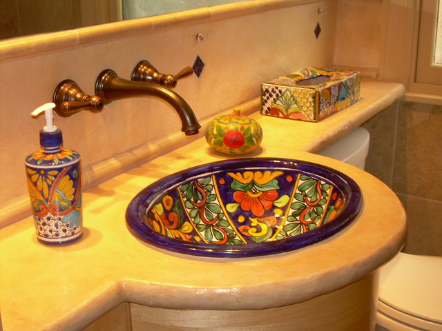 rustic  composite countertop in Mexican style bath eclectic bathroom
