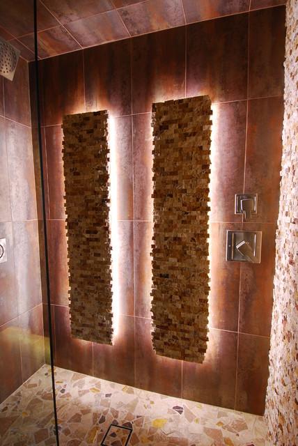 Rustic Contemporary Bathroom Features Creative Lighting Invisible