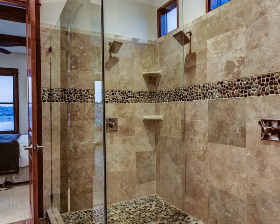 Large rustic tile shower home design photos decor ideas for Rustic tile bathroom ideas