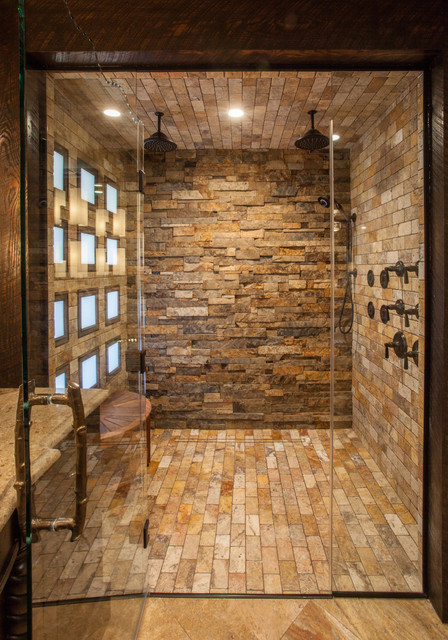 Rustic elegance master bath rustic bathroom other by gina mcmurtrey interiors llc - Using stone in rustic gardens elegance and drama ...
