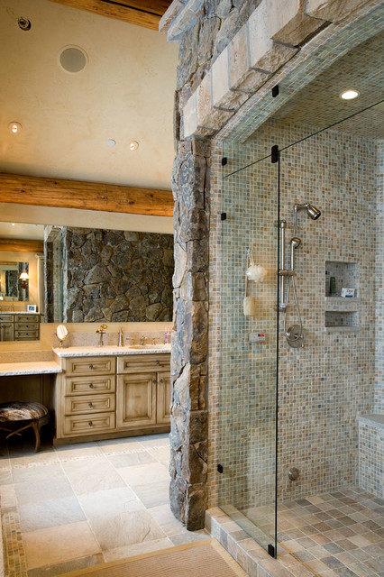 rustic elegance rustic bathroom by rocky mountain log homes