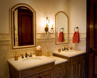 Rustic Bathroom Mirrors on Rustic Guest Bathroom