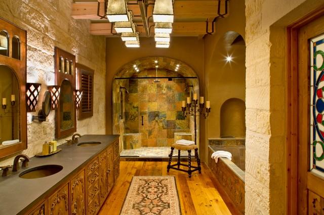 Rustic hacienda style texas ranch southwestern for Ranch style bathroom ideas
