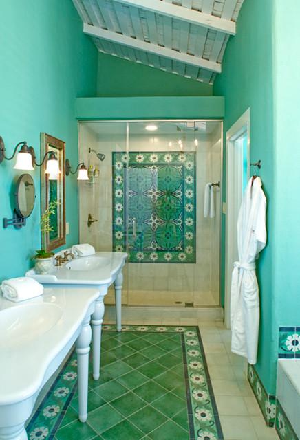 Rustic hacienda style texas ranch southwestern for Bathroom interior design houston