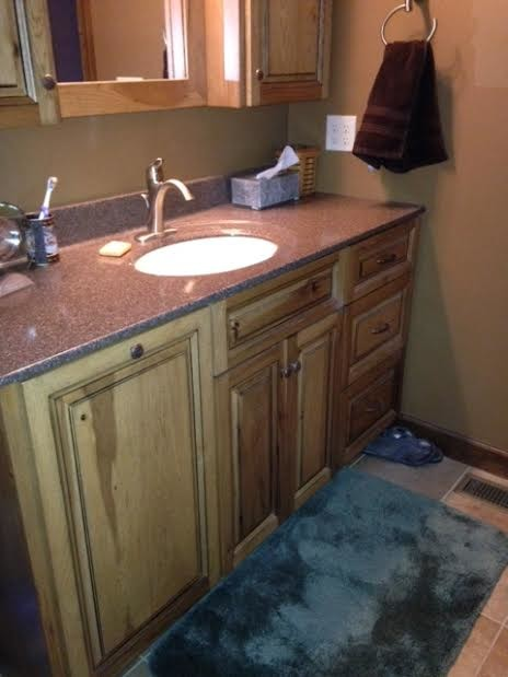 Rustic hickory vanity - Farmhouse - Bathroom - philadelphia - by Blue Mountain Woodworking, Inc.