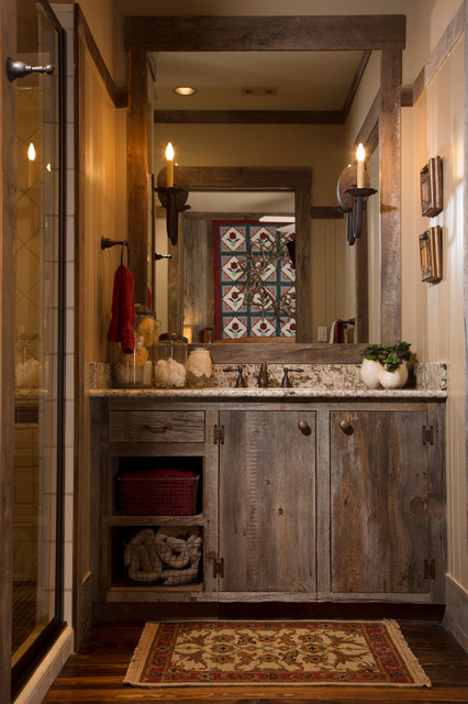 Rustic lodge style home rustic bathroom houston by Rustic country style bathrooms