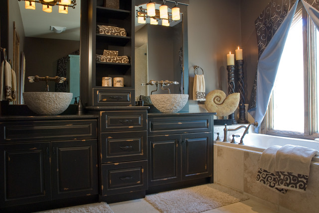Rustic Master Bath Eclectic Bathroom St Louis By Savvy Surrounding Style