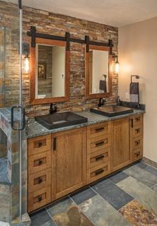 rustic master bathroom - rustic - bathroom - omaha -