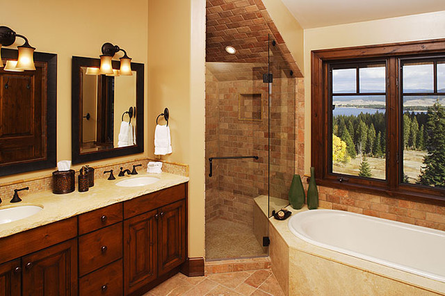 Rustic modern 5 piece bathroom traditional bathroom for Small 4 piece bathroom designs