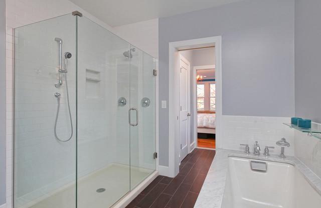 Rustic Modern Bathroom With Glass Shower Traditional Bathroom