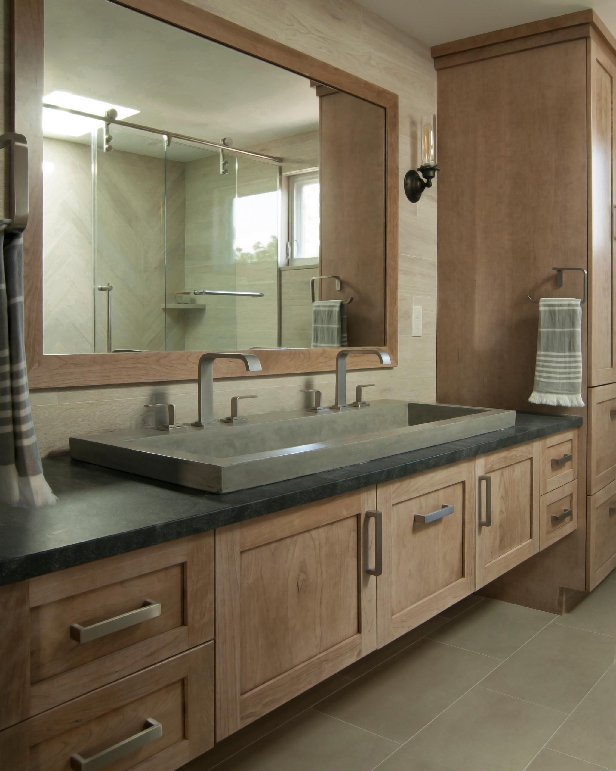 Rustic Modern Master Bathroom Sommerville, MA