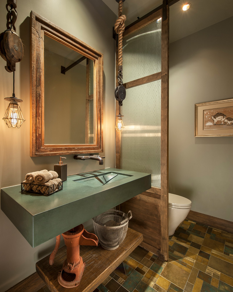 Inspiration for a southwestern multicolored floor bathroom remodel in Phoenix with open cabinets, medium tone wood cabinets and gray walls