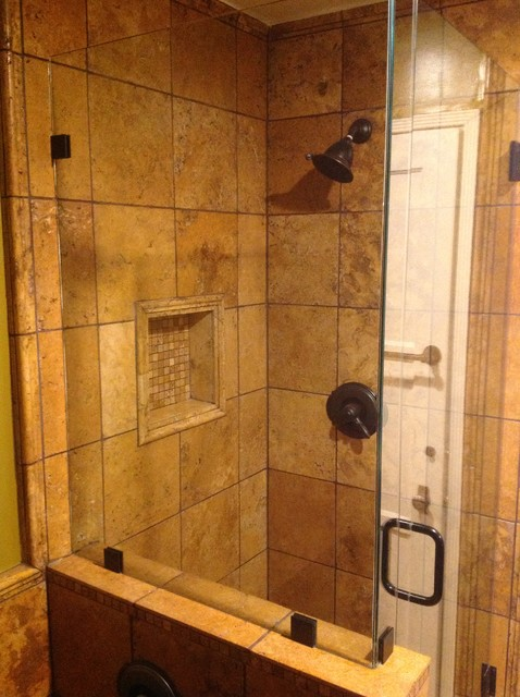 Rustic shower rustic bathroom los angeles by open for Cabin shower tile ideas