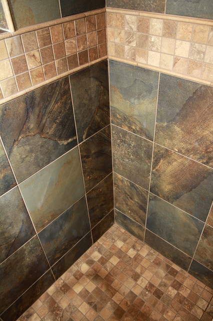 Rustic slate look bathroom for Bathroom designs earth tones