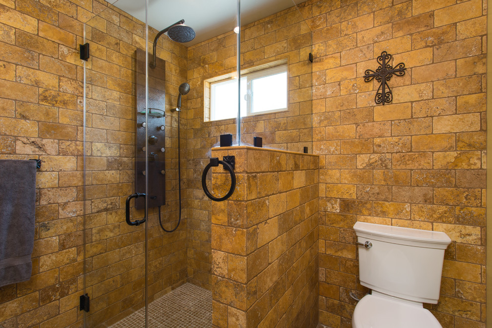Rustic Spanish Design And Remodeling Of 2 Bathrooms In