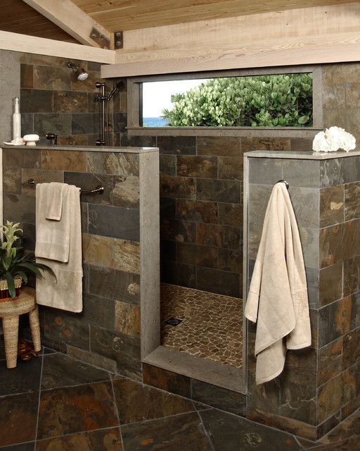 Rustic stone shower modern bathroom other metro by for Rustic tile bathroom ideas