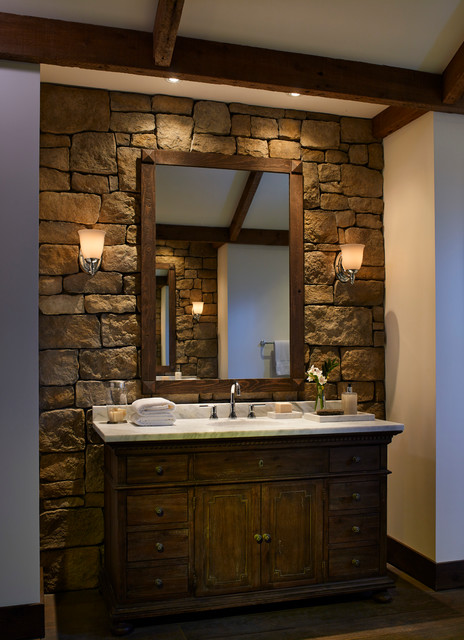 Rustic stone wall bathroom for Stone coloured bathroom accessories