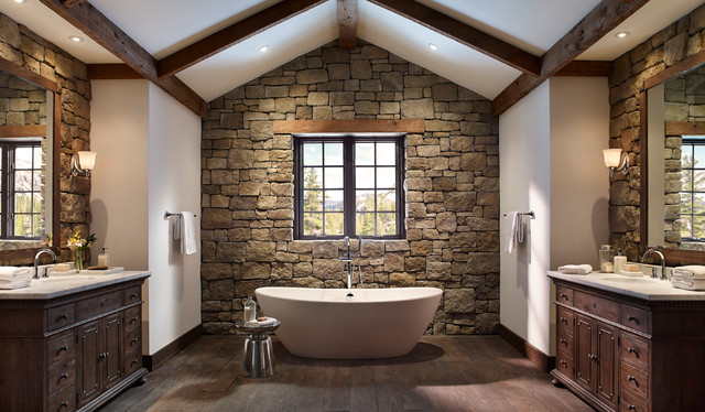 Rustic Stone Wall Bathroom With Open Tub