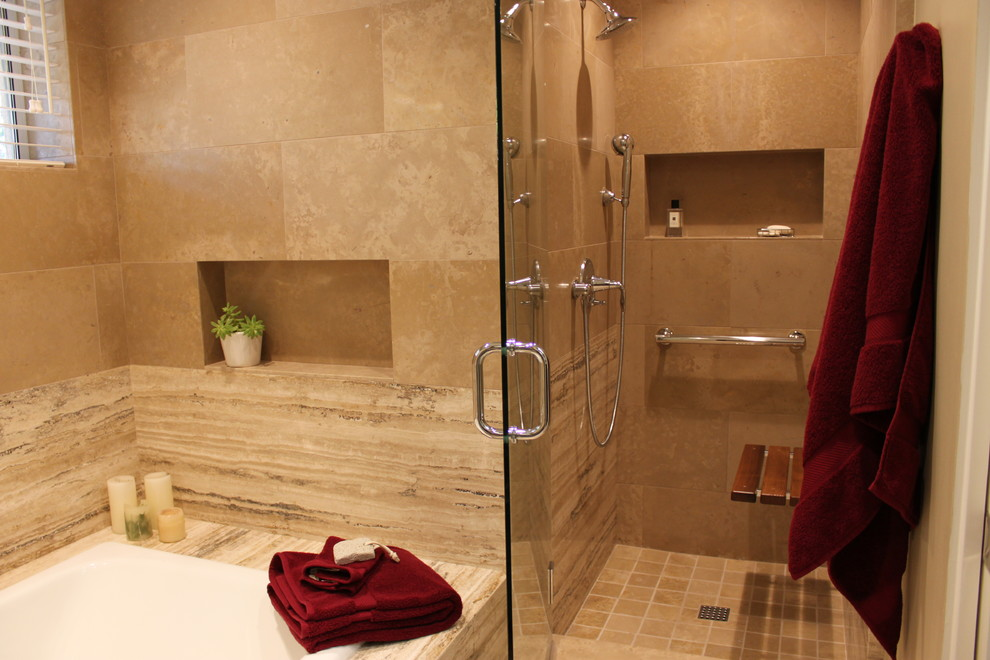 Inspiration for a mid-sized transitional master beige tile and stone tile bathroom remodel in San Diego with flat-panel cabinets, dark wood cabinets, a one-piece toilet, beige walls and an undermount sink