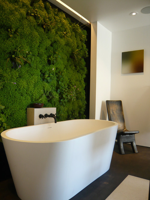 vertical garden green wall in bathroom