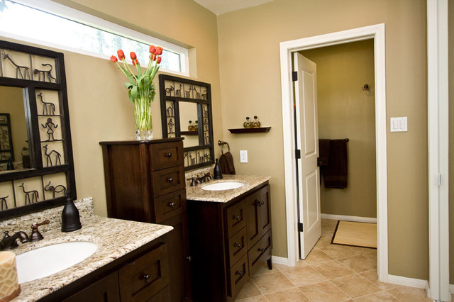 Large Elegant Bathroom Photo In Los Angeles With An Undermount Sink, Shaker  Cabinets, Dark