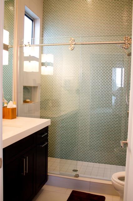 Sage Green Bathroom: Sage Green 1x2 Glass Subway Tile- Ca Coastal Residence