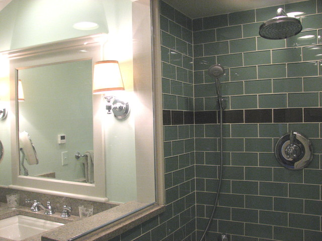 Sage Green 3x6 Glass Subway Tile Modern Bathroom