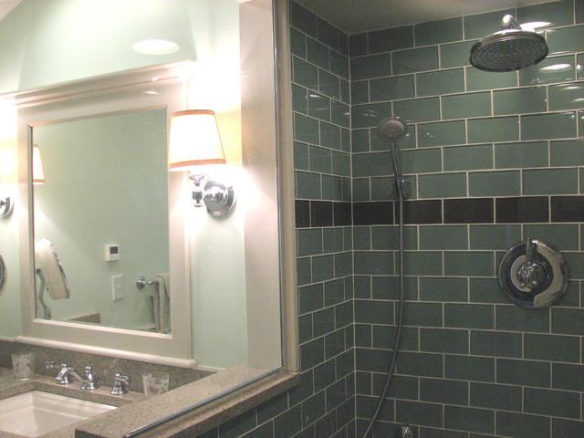 Sage Green 3x6 Glass Subway Tile Modern Bathroom