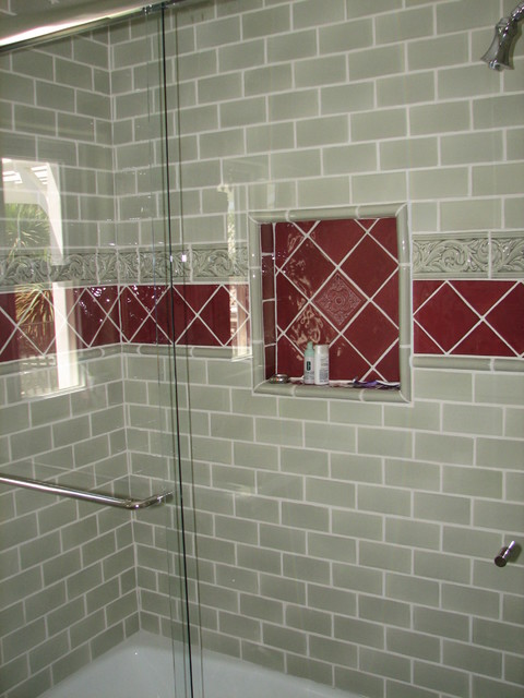 Sage Green And Burgundy Tile Walker Zanger Guest Bath Traditional Bathroom Los Angeles