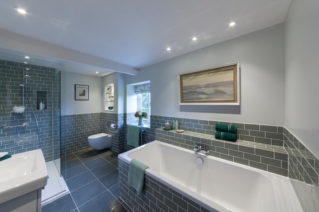 Sage green family bathroom with metro tiles and slate ...